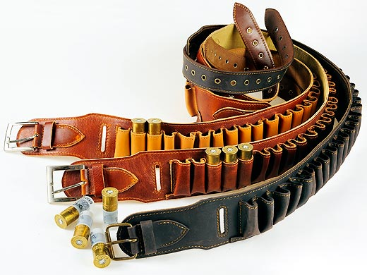 Leather cartridge-belt - opened