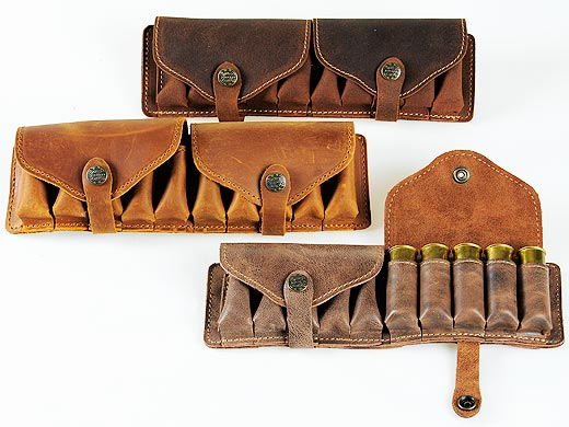 Leather cartridge-box for hunting cartridges